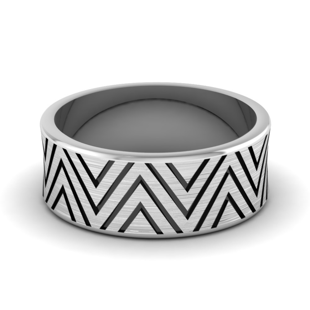 engraved concave mens wedding band in FDM846B NL WG