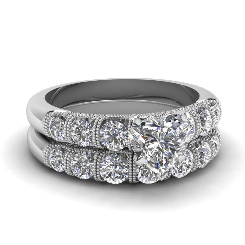 Round Diamond Accented Heart White Gold Milgrain Wedding Ring Set