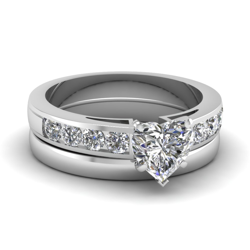 Heart Shaped Channel Diamond Ring With Plain Band In 14K White Gold