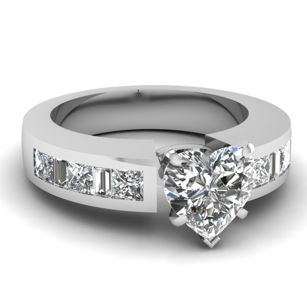 Popular Heart Shaped Diamond Engagement Ring In Platinum