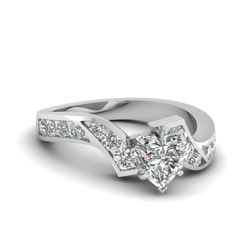 Heart Shaped Diamond Channel Twisted Engagement Ring In FDENS510HTR NL WG