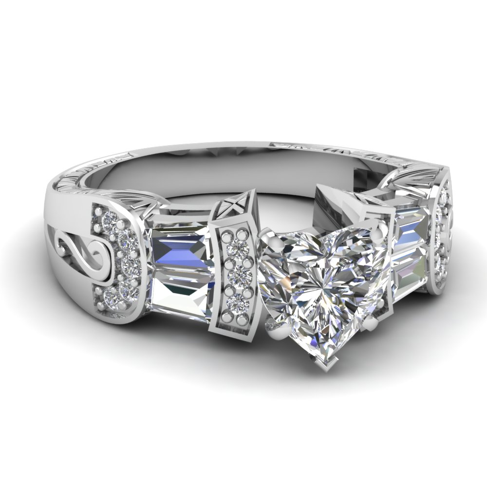 White Gold Heart White Diamond Engagement Wedding Ring In Pave Prong
