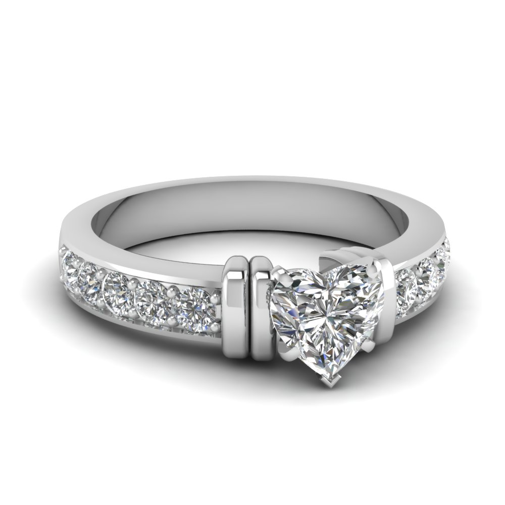 simple bar set heart lab diamond engagement ring in FDENR957HTR Nl WG