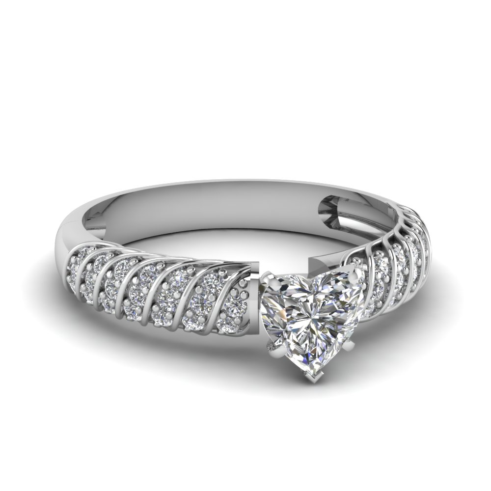 rope design heart diamond engagement ring in FDENS3048HTR NL WG 30