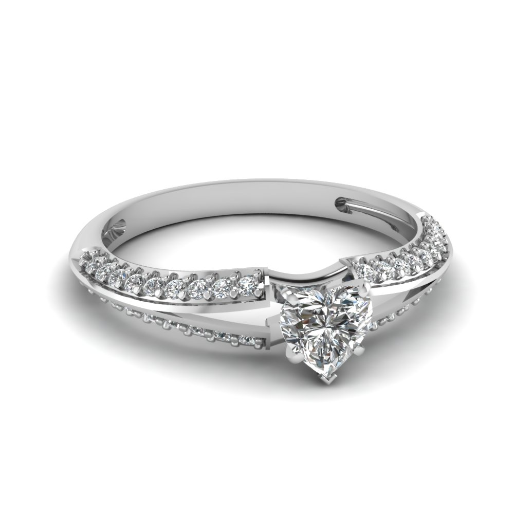 Heart Shaped 1/2 Ct. Diamond Engagement Rings