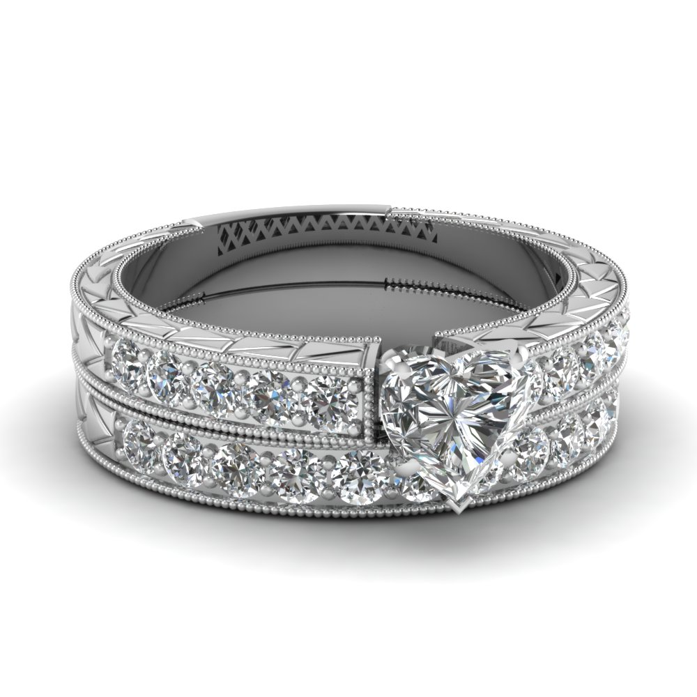 Heart Diamond Vintage Pave Wedding Ring Set In 950