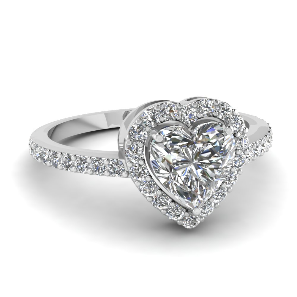 Heart Shaped Diamond Halo Engagement Rings With White Diamond In 14k White  Gold