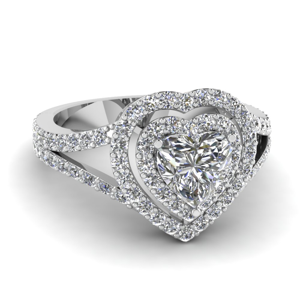 Split Shank Heart Diamond Halo Engagement Ring In 14K White Gold