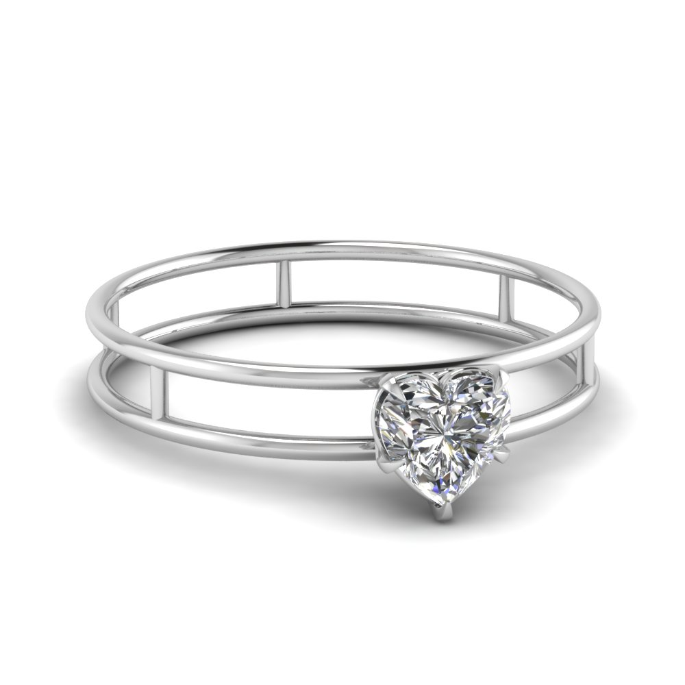 basket heart shaped solitaire moissanite engagement ring in FD1065HTR NL WG