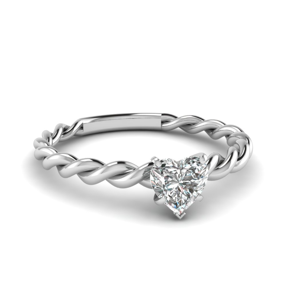 Heart Shaped Diamond Twisted Shank Solitaire Engagement Ring