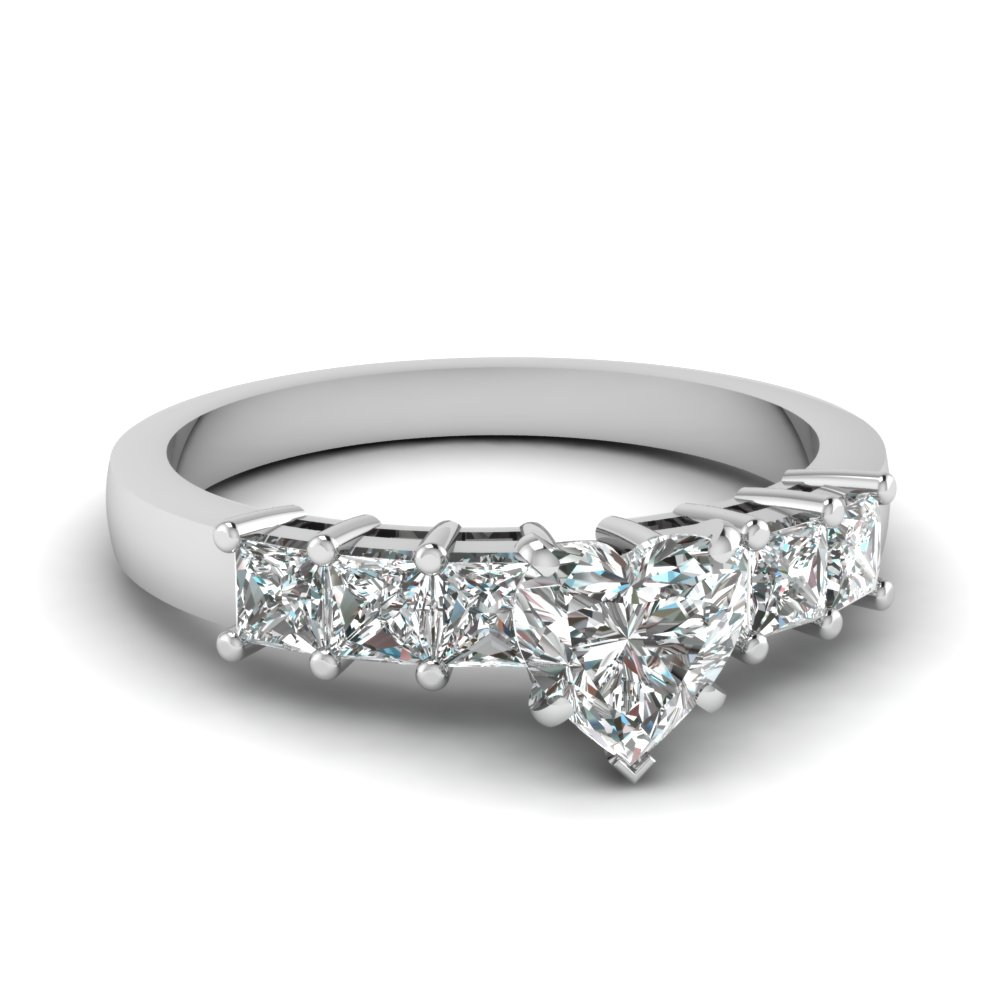 7 stone heart diamond engagement ring in FDENS1027HTR Nl WG