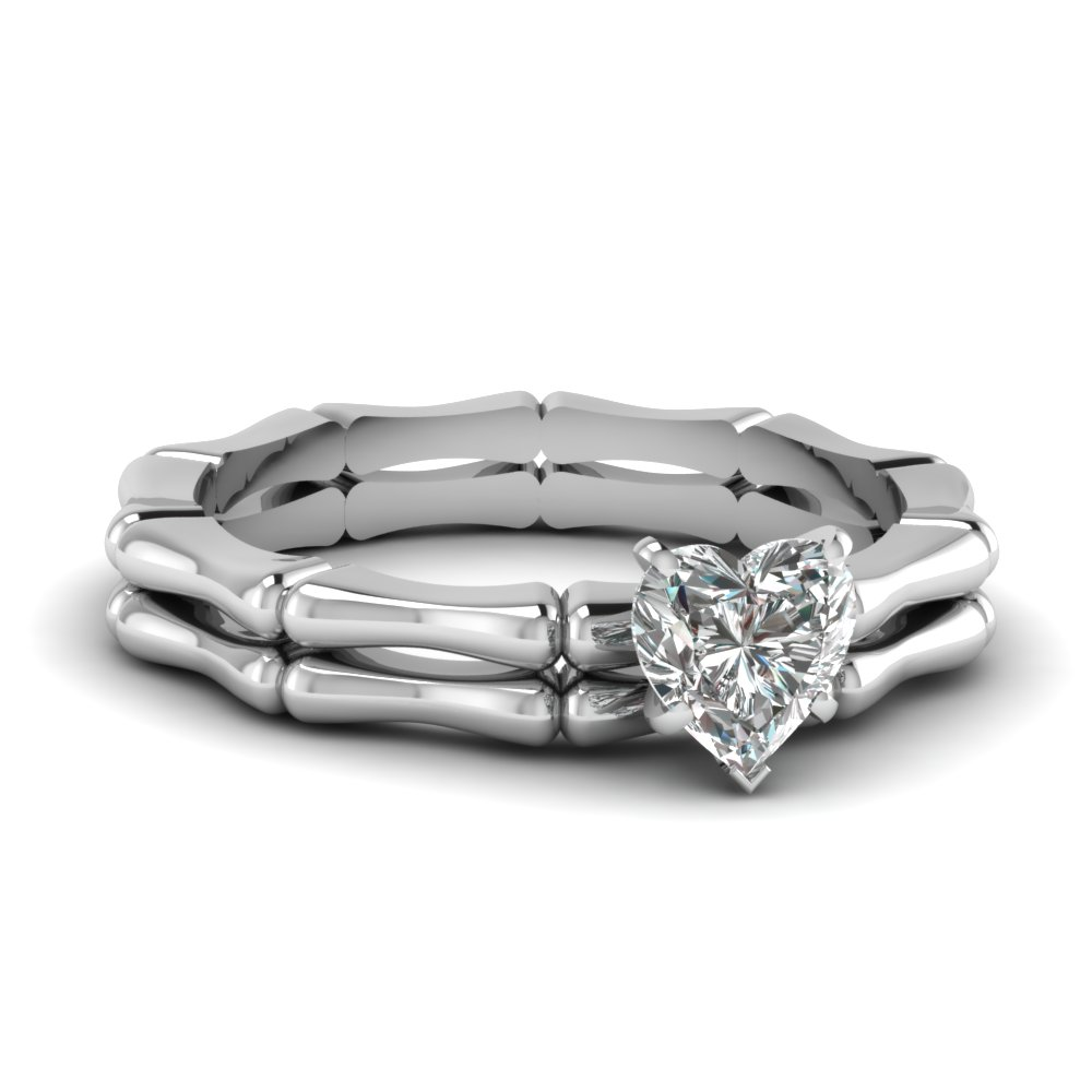 white gold heart white diamond engagement wedding ring - Heart Wedding Ring Set