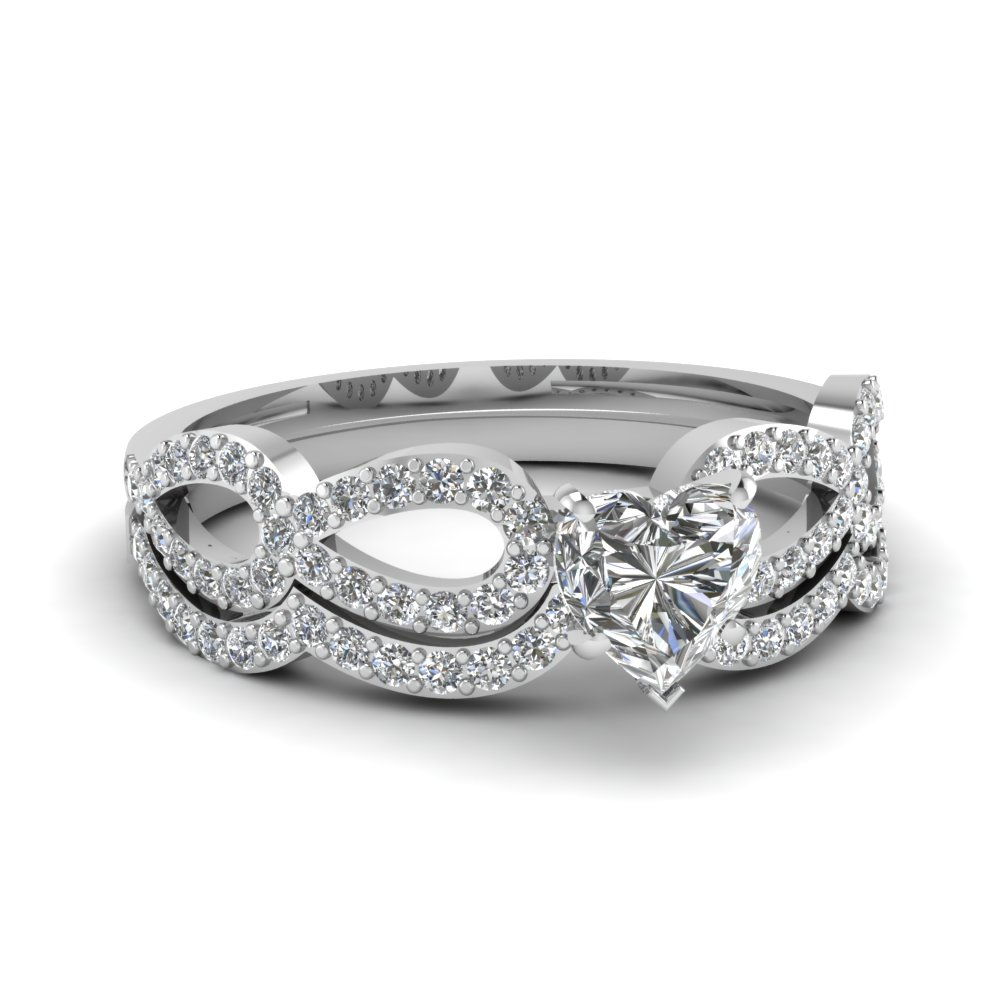 Heart Diamond Infinity Loop Bridal Set In FDENS3040HT NL WG 30