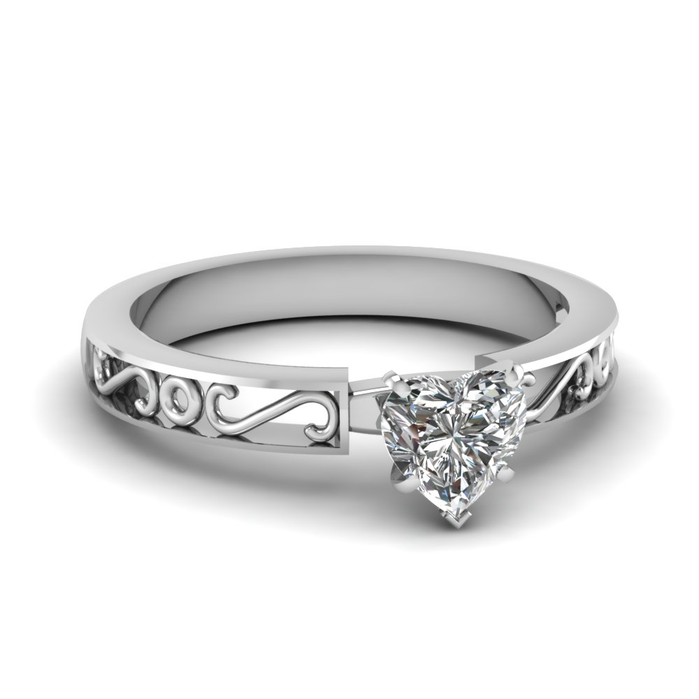 heart diamond solitaire engagement ring sale in FDENS3289HTR NL WG