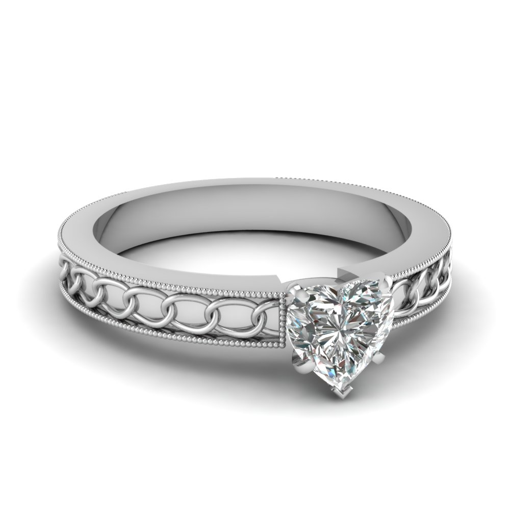 Interlocked Design Heart Solitaire Ring