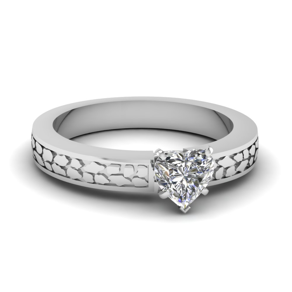 heart shaped carved solitaire engagement ring in FDENS3640HTR Nl WG
