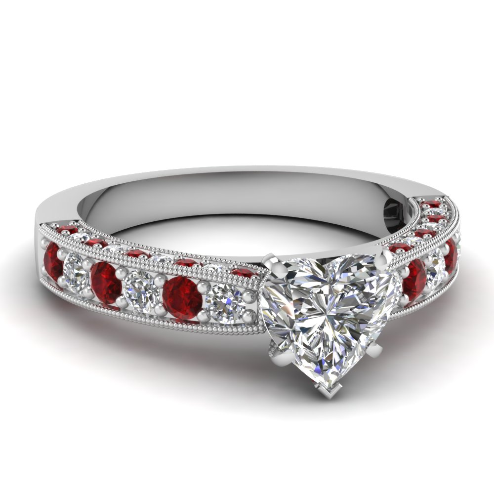 Heart Diamond Milgrain Ring with Rubies