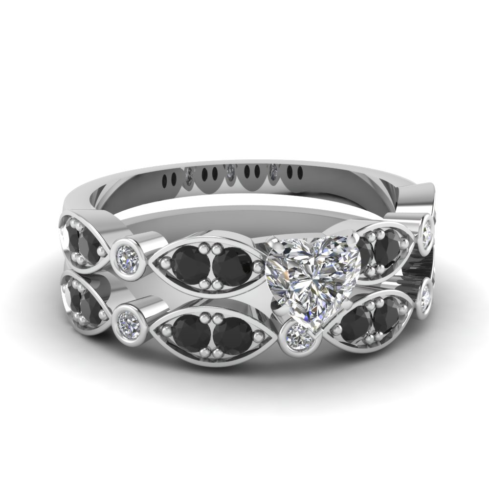 white-gold-heart-white-diamond-engagement-wedding-ring-with-black-diamond-in-pave-bezel-set-FDENS2035HTGBLACK-NL-WG