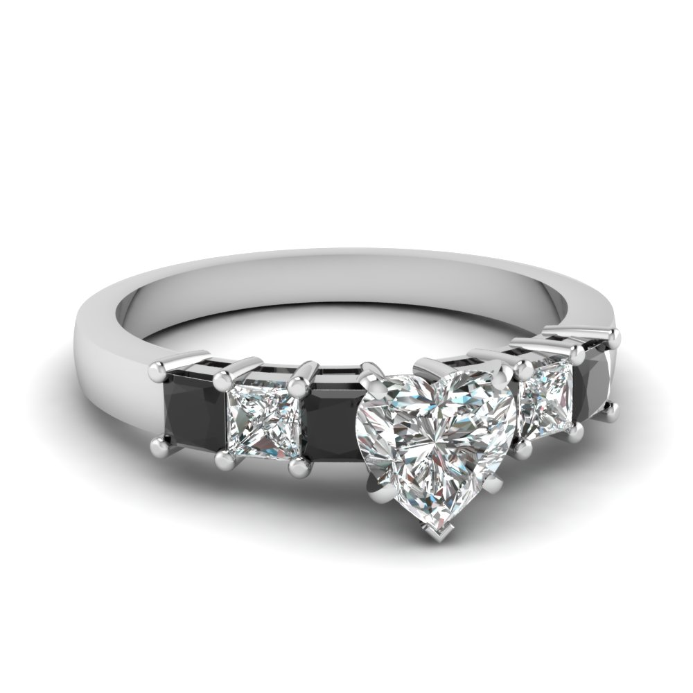 7 stone heart engagement ring with black diamond in FDENS1027HTRGBLACK NL WG