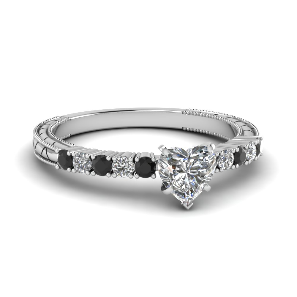 Milgrain Petite Diamond Engagement Ring