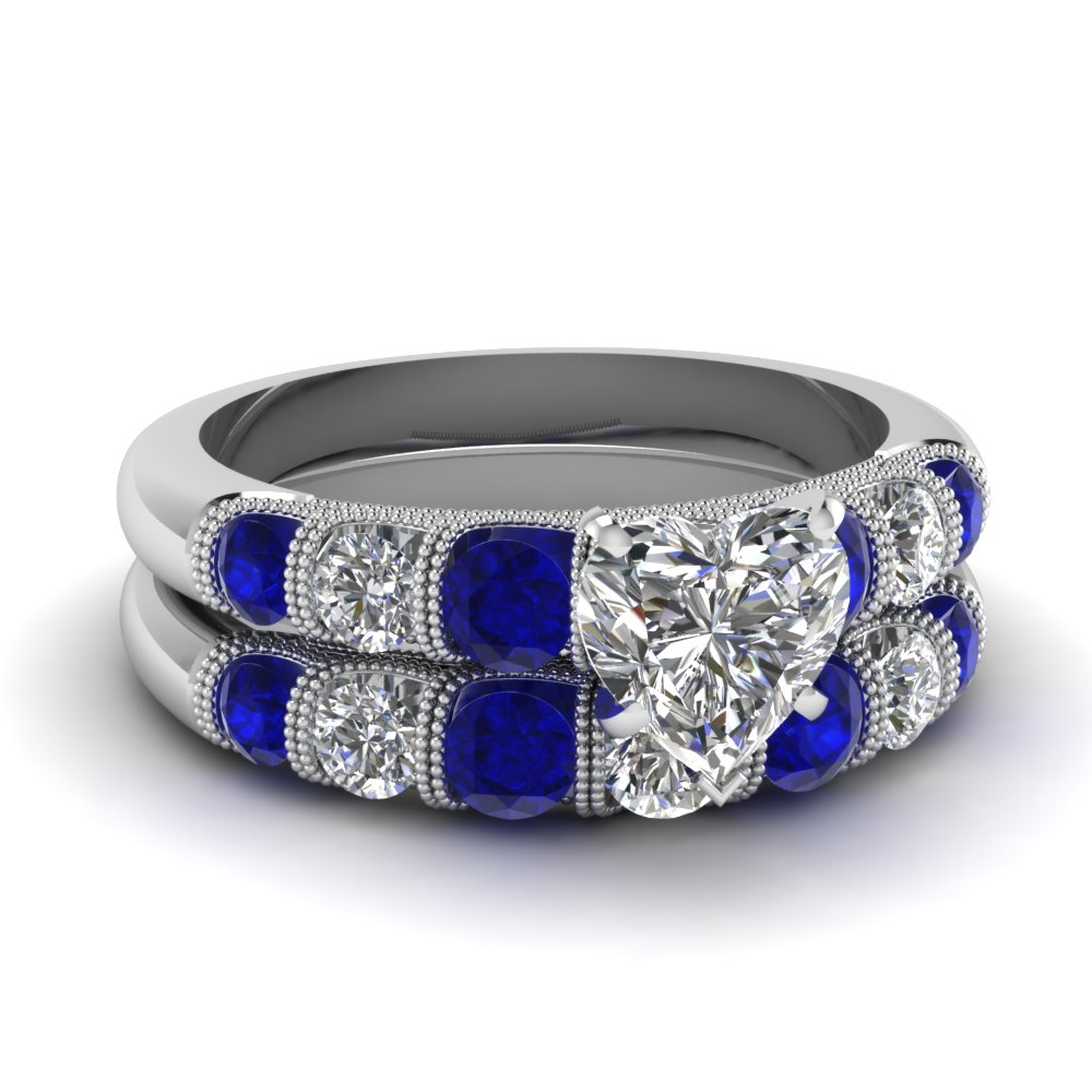 heart Milgrain bar diamond wedding set with sapphire in FDENS1783HTGSABL NL WG