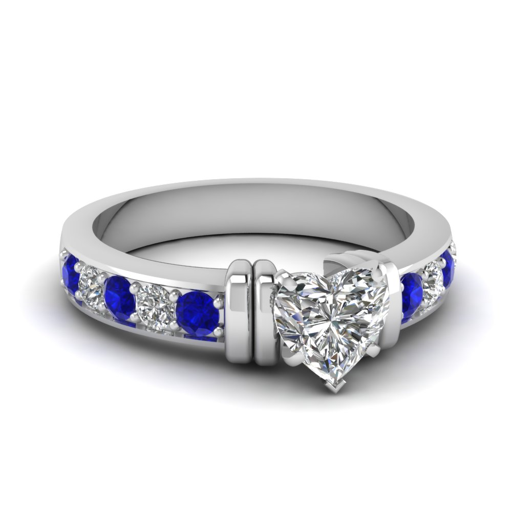 simple bar set heart diamond engagement ring with sapphire in FDENR957HTRGSABL Nl WG
