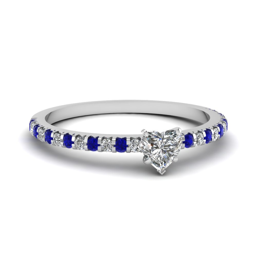 floating thin heart diamond ring with sapphire in FDENS3009HTRGSABL NL WG 30