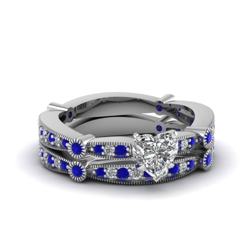 Heart Diamond Vintage Tapered Wedding Ring Set With Sapphire In  FDENS3026HTGSABL NL WG