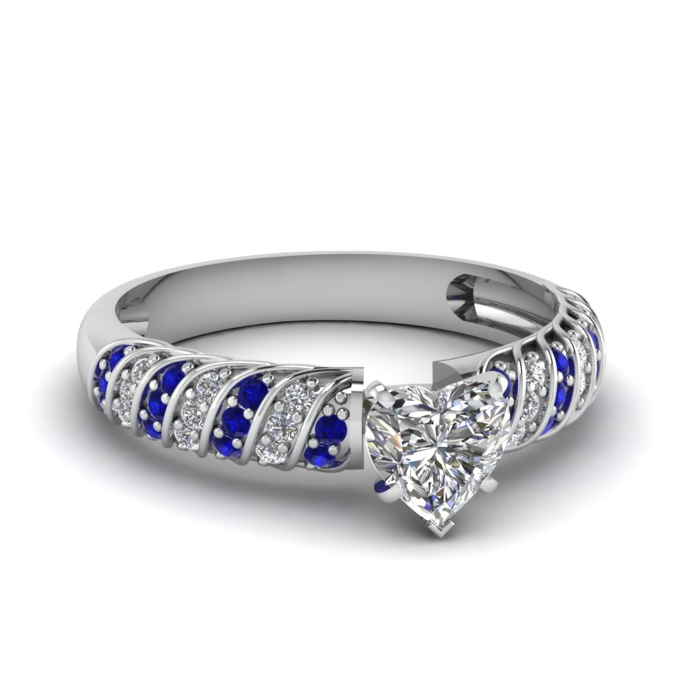 rope design heart diamond engagement ring with sapphire in FDENS3048HTRGSABL NL WG 30