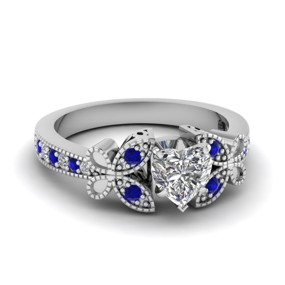 white gold heart white diamond engagement wedding ring - Butterfly Wedding Rings