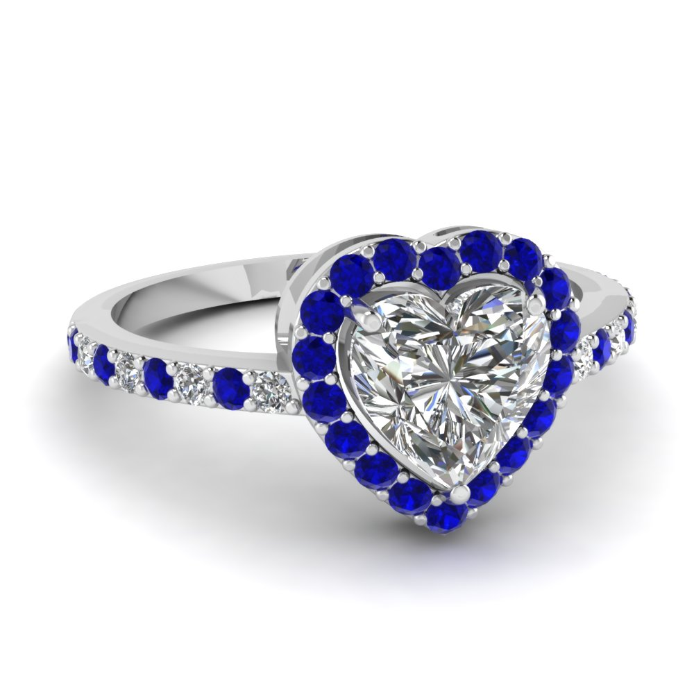 heart shaped halo diamond engagement ring with sapphire in FD1011HTRGSABL NL WG