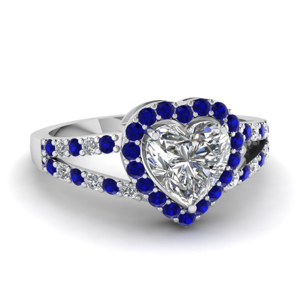 Halo Heart Diamond Ring with Blue Sapphires