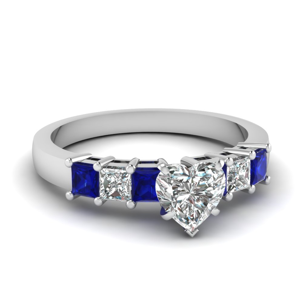 7 stone heart diamond engagement ring with sapphire in FDENS1027HTRGSABL NL WG