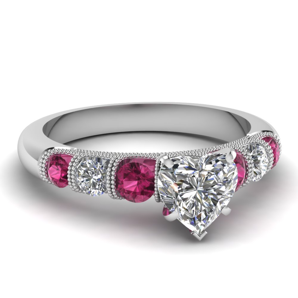 milgrain prong bar set heart diamond engagement ring with pink sapphire in FDENS1783HTRGSADRPI NL WG
