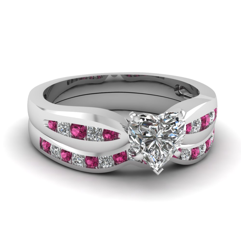 channel heart moissanite bow wedding set with pink sapphire in FDENS3113HTGSADRPI NL WG
