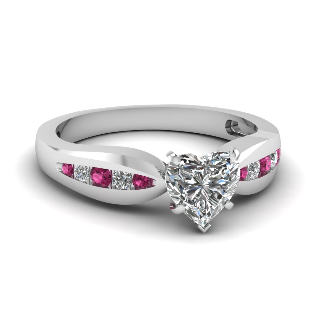 channel heart diamond bow engagement ring with pink sapphire in FDENS3113HTRGSADRPI NL WG