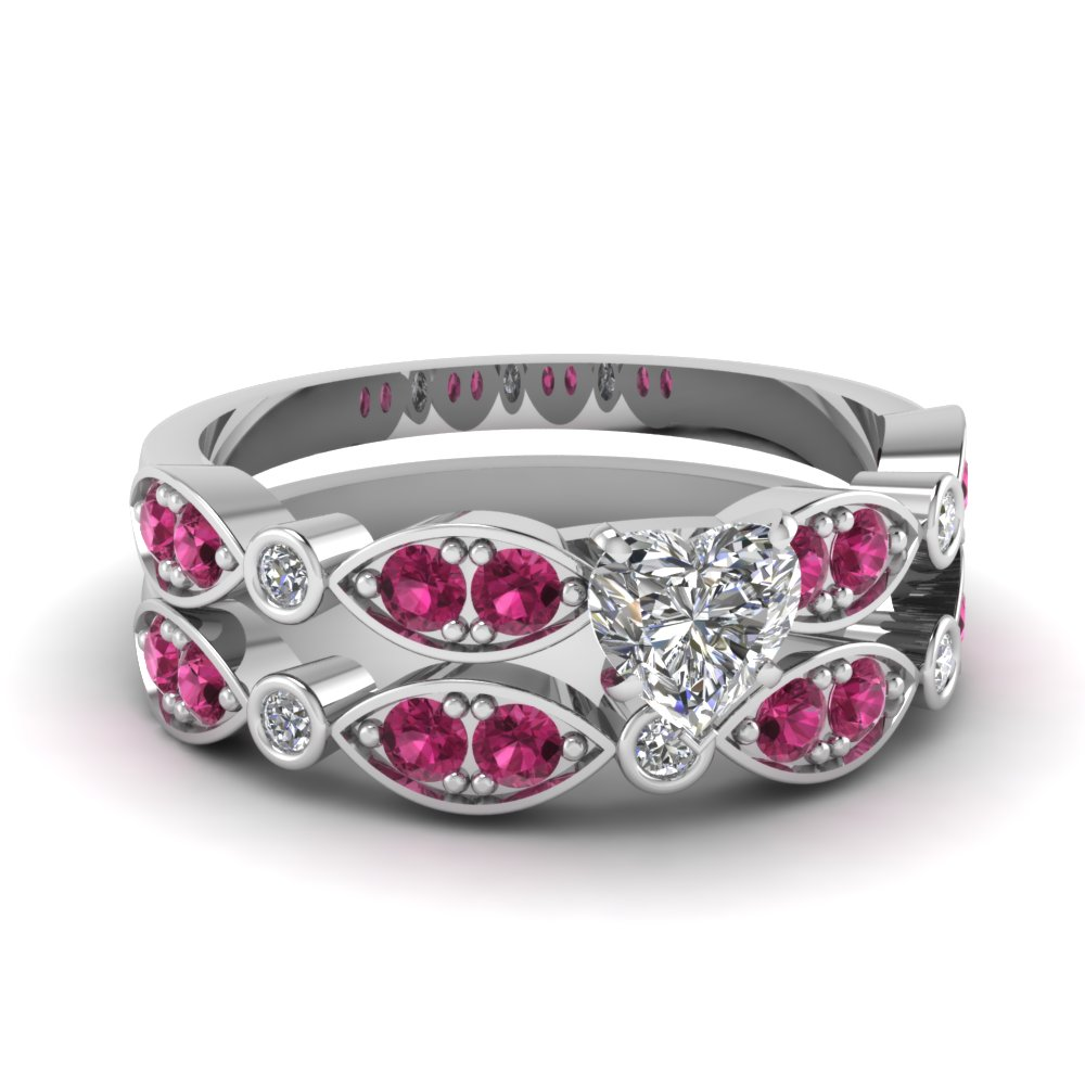 white-gold-heart-white-diamond-engagement-wedding-ring-with-dark-pink-sapphire-in-pave-bezel-set-FDENS2035HTGSADRPI-NL-WG
