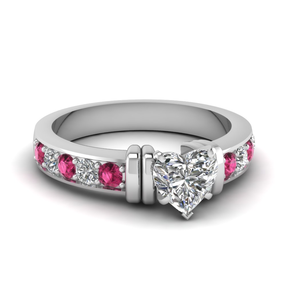 simple bar set heart moissanite engagement ring with pink sapphire in FDENR957HTRGSADRPI Nl WG
