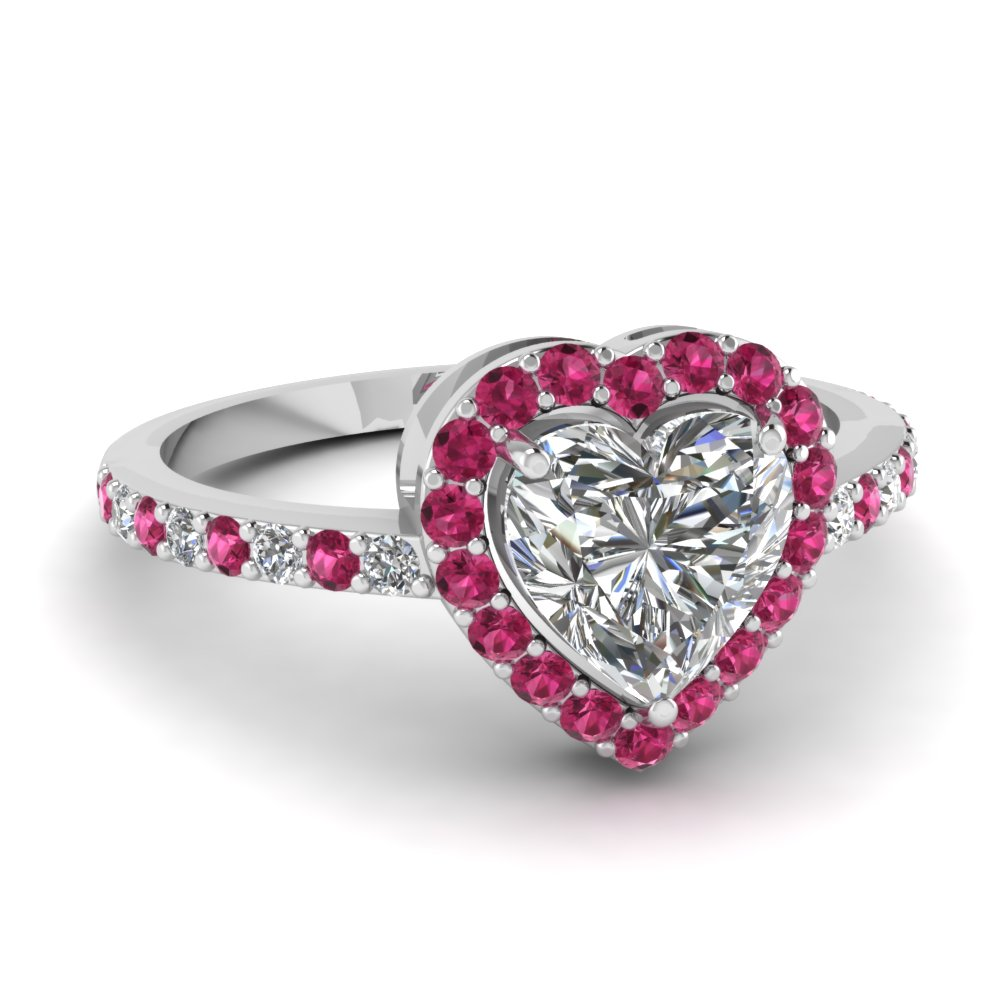 heart shaped halo moissanite engagement ring with pink sapphire in FD1011HTRGSADRPI NL WG