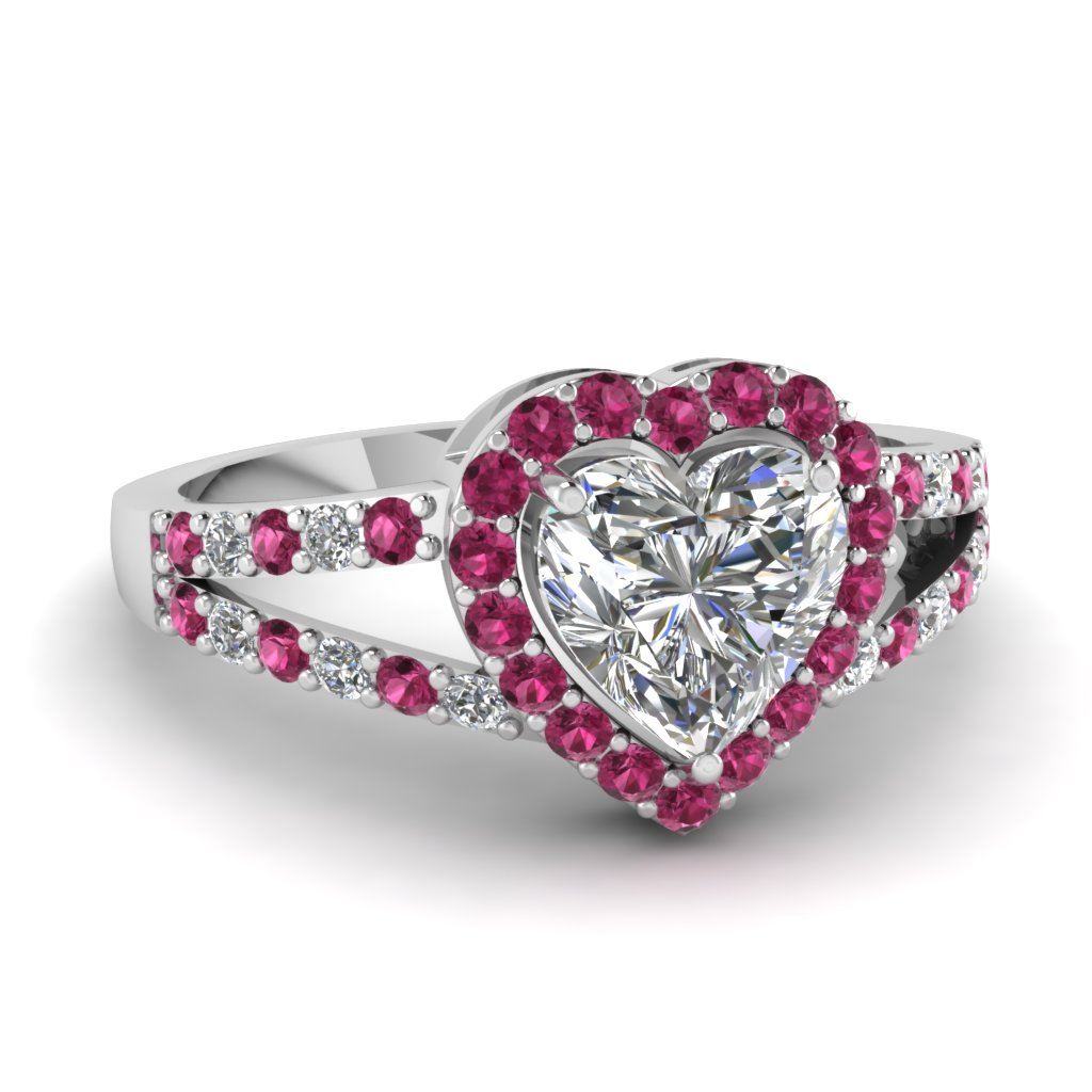 Black And Pink Heart Wedding Rings: Heart Sapphire Halo Split Diamond Engagement Ring In 14K