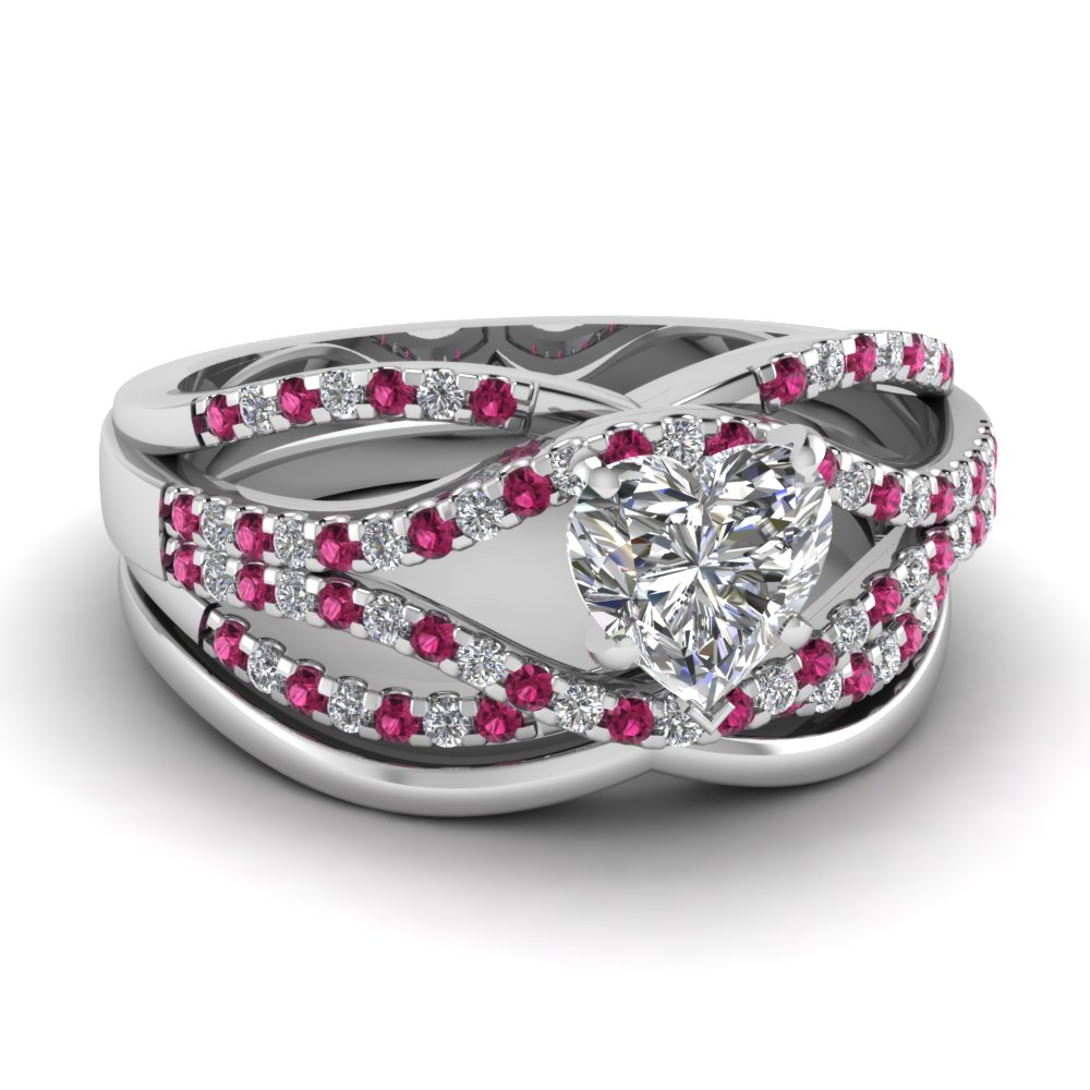 floating prong heart pink sapphire wedding ring set - Pink Wedding Ring Set