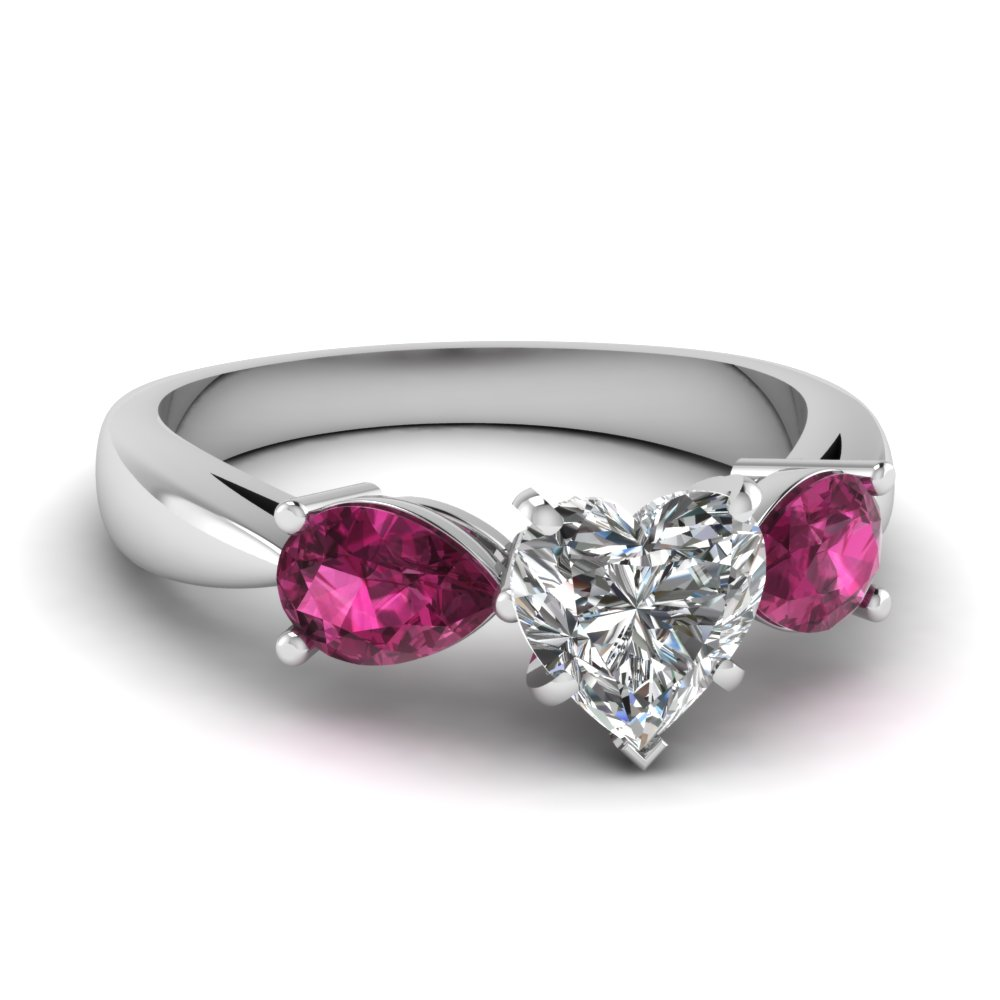 engagement lake rings pink ring sets diamond side corrals shaped wedding shape heart