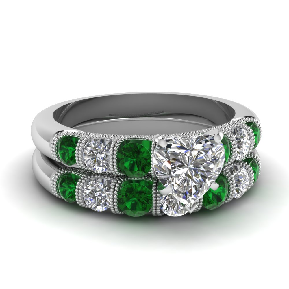 Heart Milgrain Bar Diamond Wedding Set With Emerald In FDENS1783HTGEMGR NL  WG