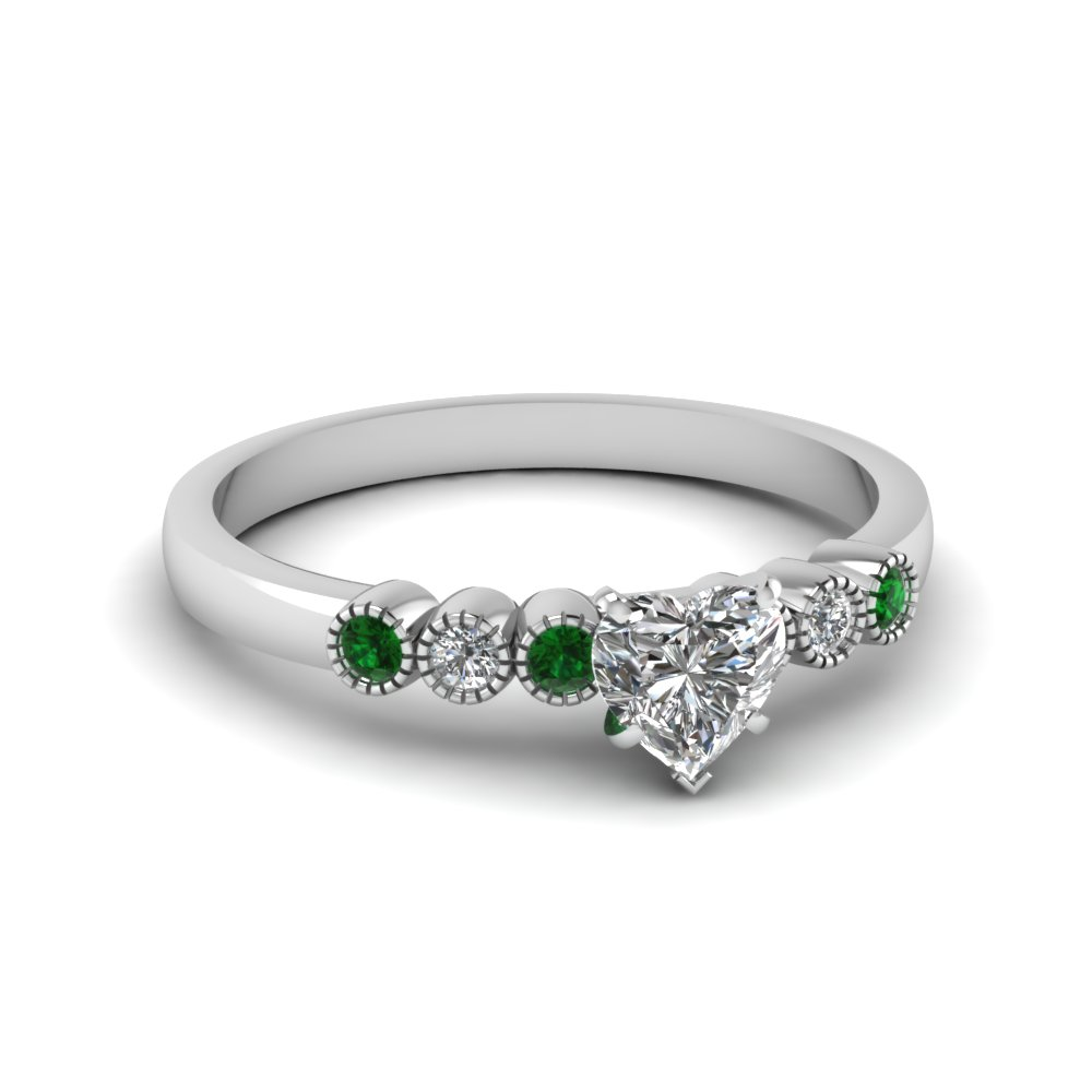 Platinum Petite Ring With Emerald