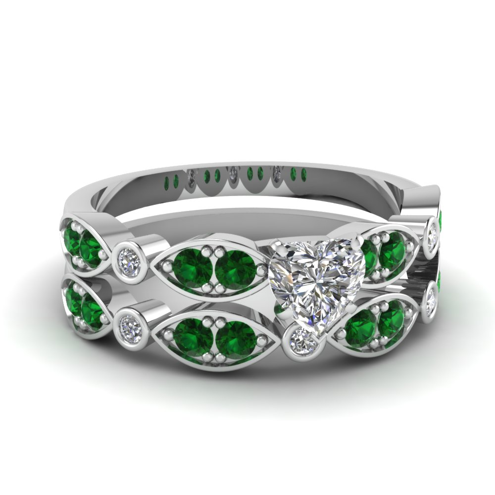 white-gold-heart-white-diamond-engagement-wedding-ring-with-green-emerald-in-pave-bezel-set-FDENS2035HTGEMGR-NL-WG