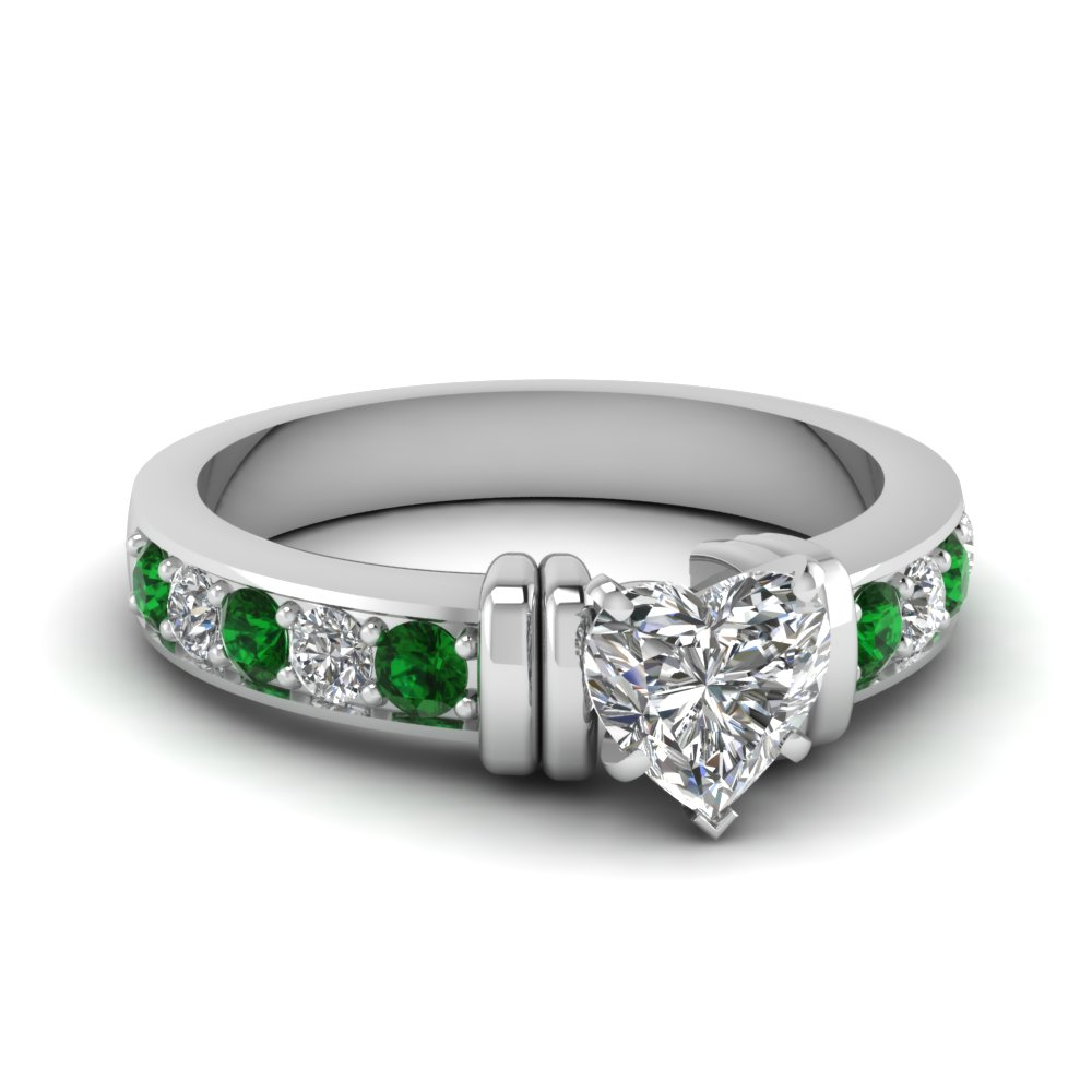 simple bar set heart diamond engagement ring with emerald in FDENR957HTRGEMGR Nl WG