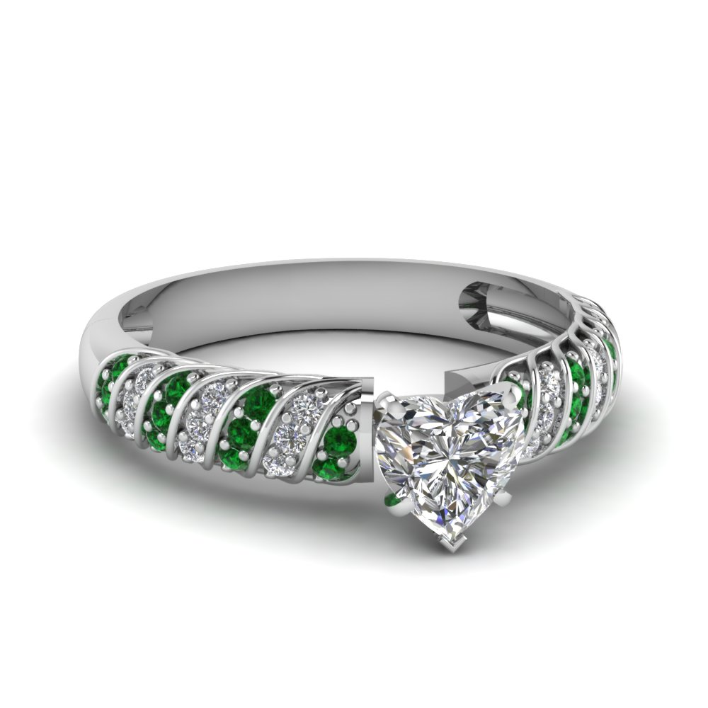 rope design heart diamond ring with emerald in FDENS3048HTRGEMGR NL WG 30