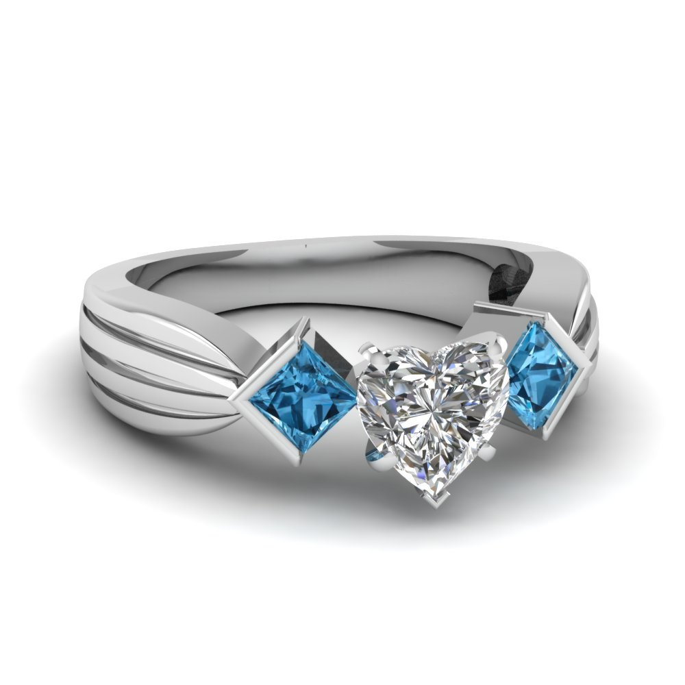 Heart Cut Topaz 3 Stone Ring