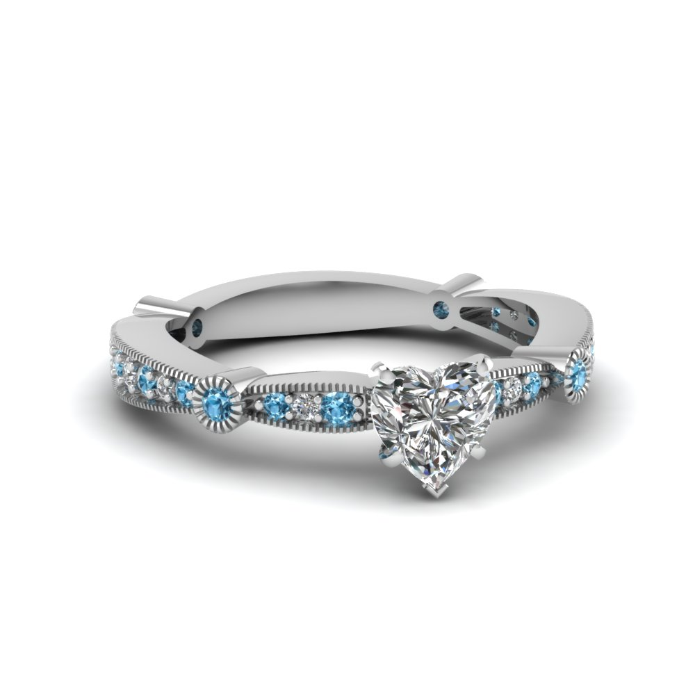 heart diamond vintage tapered engagement ring with blue topaz in FDENS3026HTRGICBLTO NL WG