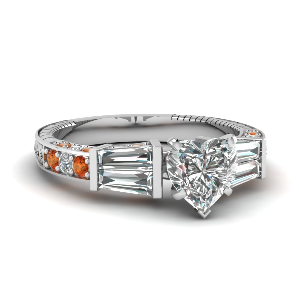 vintage baguette heart diamond engagement ring with orange sapphire in FDENS318HTRGSAOR NL WG